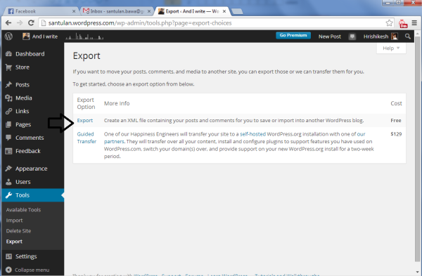 export options wp